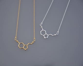 ZOUX154 delicate thin chain, pendant symbol serotonin - 925 sterling silver grey or gold plated with gold end