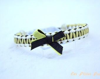 Small braided dog collar black and yellow