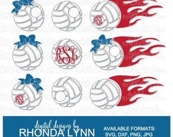 SALE! Volleyball Monogram | Volleyball SVG dxf jpg png cut file | Volleyball Pattern | Volleyball Clipart | Volleyball Digital Download