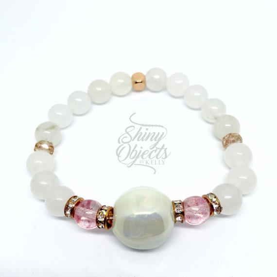 Jade and Czech Glass Bracelet