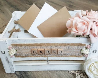 Wedding Crate - Shabby White (Large) Customised Lettering | Wedding Card Crate | Wedding Card Holder | Card Box | Shabby Wedding Crate