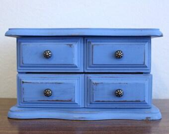 Vintage Upcycled Wood Jewelry Box - Shabby Chic -