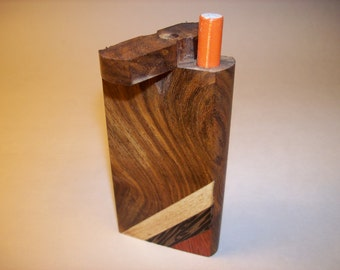 Wood Dugout One Hitter with Cigarette Style Aluminum Bat Stained Wood with Color Stripes Decorative Design