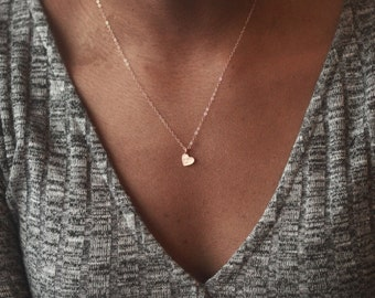 Rose Gold Heart, Hammered Necklace, Small Heart Necklace, Heart Necklace, Heart Jewelry, Tiny Heart Necklace, Rose Gold Necklace