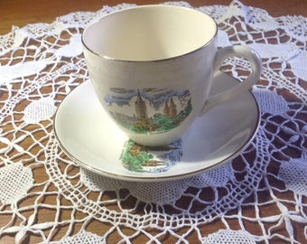 Vintage 1950's Cartwright and Edwards Ltd cup and saucer depicting Truro Cathedral, Cornwall , UK