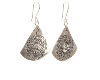 Sterling Silver Fan Shaped Detailed Earrings