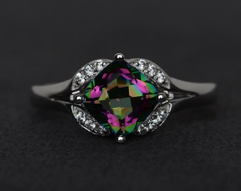 mystic topaz ring color engagement ring rainbow topaz silver promise ring