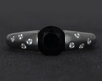 natural genuine black spinel silver ring round cut black rings bezel setting promise ring