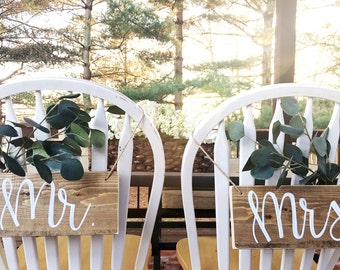Mr And Mrs Chair Signs, Wedding Signs, Mr and Mrs Sign, Wedding Sign