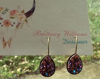 Multicolor/magenta teardrop druzy dangle earrings