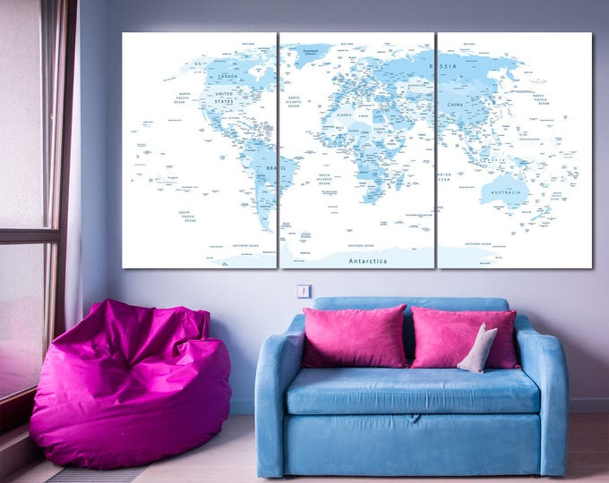 large blue highly detailed world map with countries and cities blue push pin world map