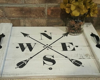 Hand painted and distressed compass with arrows serving tray