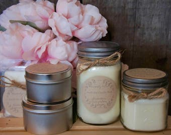 6 Ounce Tin//100% Soy Wax// Candle//Cotton Wick//Summer Spring Scents//Hand Poured