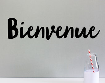 "WALL STICKER ""BIENVENUE"" - made to order & available in 19 bright colours"