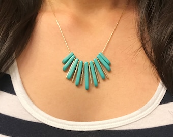 Turquoise fringe gold necklace