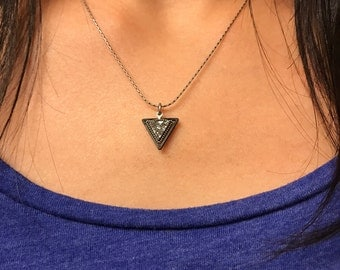 Silver druzy triangle necklace with antique silver chain