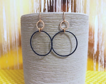 Matte rose gold and matte black hoop earrings
