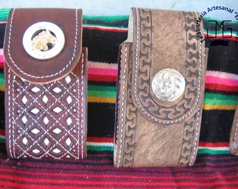 Chiseled cell phone cover - Hand tooled leather cell phone holder - case