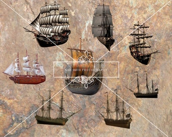 Old Pirate Ship Overlays, High Resolution Instant Download.