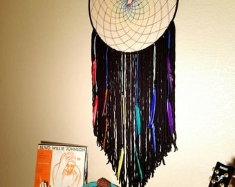 Giant Rainbow Dream Catcher // Oh Roy Gee Biv Wall Hanging // Big Dreamcatcher