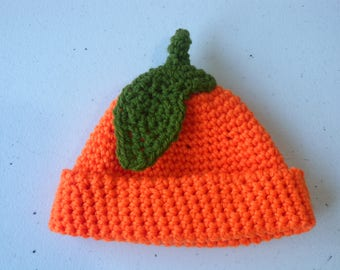 Crochet beanie in orange with leaf detail - newborn