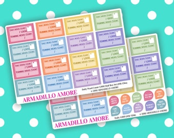 Daily 1000 Word Count Half Boxes & Motivational Stickers {40 Fabulous Matte or Glossy Planner Stickers, Double Rainbow Theme} | #16-158