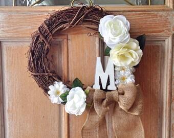 "Grapevine Letter Wreath 14"""