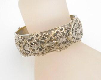 Vintage Silvertone Filigree Overlay Bangle Bracelet