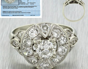 1940s Antique Art Deco 14k Solid White Gold 1.85ctw Diamond Engagement Ring EGL certified
