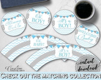 Baby Shower Boy Shower Sky Blue Cupcake Ideas Printable Toppers CUPCAKE TOPPERS AND Wrappers, Pdf Jpg, Party Organizing - cbl01