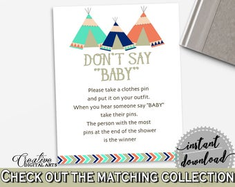 Dont Say Baby Baby Shower Dont Say Baby Tribal Teepee Baby Shower Dont Say Baby Baby Shower Tribal Teepee Dont Say Baby Green Navy - KS6AW