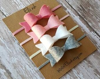 Baby headband bows , baby girl bow headband set, bow headband, baby-girl bow headband, Set of 4 bows, baby accessories, baby bow headband