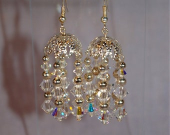 Silver and Crystal Chandelier Earrings
