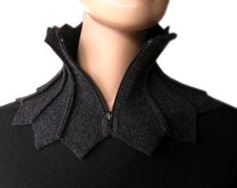 scarf, collar, shawl collar, loop, grey