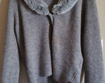 Vintage 1990s Calvin Klein Wool Jacket With Faux Fur Collar