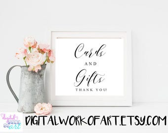 Cards and Gifts Sign, Printable Wedding Sign,Gift table Reception Sign, Calligraphy, Rustic wedding, wedding decor, instant download, #AI-02