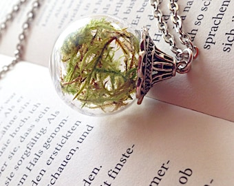 "Real ""Mossgarden"" moss in glass ball silver"
