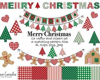 Christmas clipart, Christmas vectors, holiday clipart, Christmas bunting clipart, Christmas graphics, Christmas digital paper