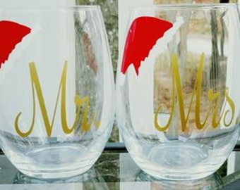 Mr and Mrs Christmas, Mr and Mrs wine glasses, Christmas wine glasses, Santa wine glass, Mr and Mrs Santa