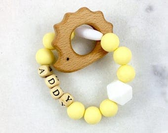 Yellow Personalized Teething Ring - Wooden Teether - Wood Baby Rattle - Wood Teething Toy - Silicone Baby Teether - Teething Ring For Baby