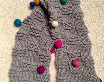 Hand-knit Child Scarf with multi-color poms