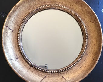 mirror 22x22 oval gold leaf 22 by 22 frame