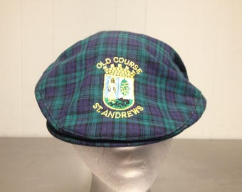 Vintage 90's Old Course St Andrews Golf Course Newsboy Cabbie Hat Size Large 7 1/2