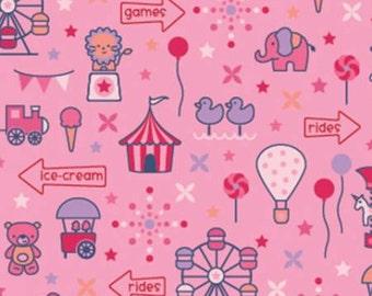 Pink Mini Fun Fair Fabric, Melly & Me, Ella Blue, Circus, animal friends, sweat treats, mini prints, Softie, Quilts