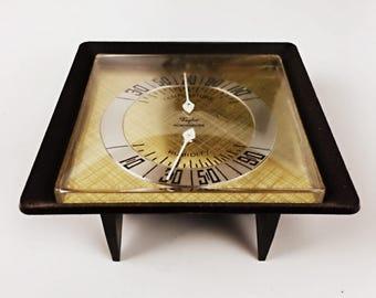 Vintage Temperature and Humidity Gauge Desktop Barometer Weather Station Thermometer Hygrometer Brown Gold