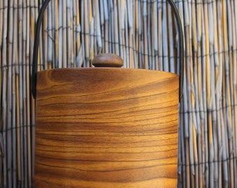 Mid Century Vintage Faux Wood Ice Bucket