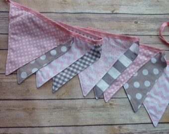 Grey and Light Pink Banner, Birthday Party Decoration, Bunting, Fabric Banner, Flags, Photography Prop, Garland , Chevron, Dots