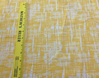 Yellow and White Patterned Cotton Fabric, Unbranded