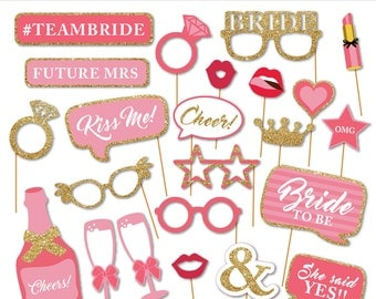 Printable Bridal Shower Photobooth Props - Wedding Photo Booth Props - Bachelorette Party Props - Bride To Be -  Instant Download
