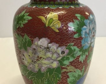 Cloisonne jar and cover, 21cm tall.